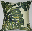 Green & Cream Monsteria Leaf Hawaiian Cotton Twill Cushion Cover - NEW