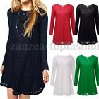 New Women Casual Lace Floral Long Sleeve Cocktail Mini Dress Shirt Blouse Top