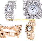 New Attractive Women's Beautiful Crystal Bracelet Quartz Wrist Watch Buckle Clip