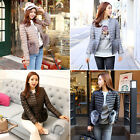 Korean Fashion Women's Fox Fur Trim Ultra Compact Quilted Down Jacket-4 colors