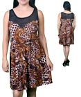 New Brown Leopard Peacock Feather & Block Print Sheer Top Tunic Dress M L XL USA