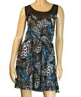 New Blue Black & White Leopard Feather Print Sheer Top Tunic Dress Size M USA