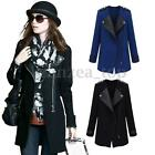 Fashion Women OL Lapel Coat Leather Patchwork Jacket Zipper Trench Outwear