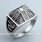 Vintage Stainless Steel The Eye Of Horus Finger Ring Band Biker Punk us9-13