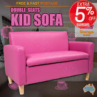 Kids Sofa Couch 2 Seat Children Lounge Arm Chair Leather Pink Black W/ Storage