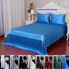 4pcs 40MM 100% Pure Silk Fitted & Flat Sheets Bedding Bed Linen Set With Seams