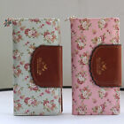 Women Top Leather Floral Printed Wallet  Cards Holder Zip Fastener Bag Purse