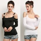 Fashion Women Slim Shirt Off Shoulder Long Sleeve Top Casual T-shirt Blouse Tee