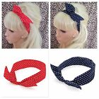 POLKA DOT BENDY WIRED WIRE BOW HAIR WRAP SCARF HEAD BAND 50'S 40'S VINTAGE STYLE