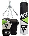 RDX Leather Boxing Punch Bag Set Gloves Training Pads Kickboxing MMA