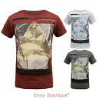 Soulstar Mens Graphic Printed T-Shirt Triangle Short Sleeve Retro Top