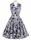 BP Rerro Women's 50s 60s Floral Swing Cocktail Party Housewife Dance Belt Dreses