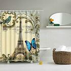 Bathroom Shower Curtain Sheer Waterproof Hanging Panel 180*180cm Hooks Set
