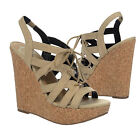 Fergalicious By Fergie BEAUTY Lace-Up Ghillie Platform Wedge Suede Sandal Nude