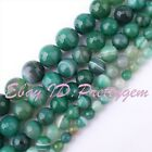 """Aagte Faceted Green Stripe Round Gemstone Loose Beads 15"""" 6mm 8mm 10mm 12mm 14mm"""
