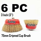 """(6pcs) 3"""" THREADED CRIMP CUP WIRE WHEEL BRUSH 5 8'' FOR ANGLE GRINDER"""