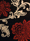 Red Contemporary Floral Area Rug Leaves Vines Stems Petals Polypropylene Carpet