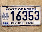KOROR PALAU License Plate Tag 2006 base plate.  - Low Shipping - Pacific Islands