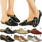 Womens Ladies Comfy Faux Fur Flat Sliders Loafers Smart Work Office Shoes Size