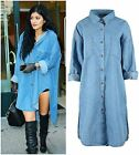 Ladies Womens Longline Chambray Denim Oversized Shirt Vintage Celeb Dress Top