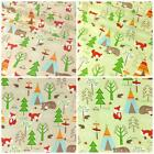 """100% Cotton Fabric, Camping in the Forest Animal Print, Green & Beige 44"""" Wide"""