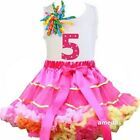Hot Pink Rainbow Satin Binding Pettiskirt 5th Birthday Cupcake Dress Outfit