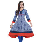 Tactic Daily Wear Blue Color Printed Pure Cotton Women Kurtis