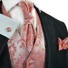 Sugar Coral Paisley Men's Tuxedo Vest, Tie and Accessories by Paul Malone