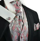 V7374-1 / Silver and Cayenne Red Paisley Tuxedo Vest