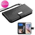 MyJacket Wallet Flap Slim Case ID Card Slots Black Crocodile For Cell Phones (Htc Desire 510 Flap Case)