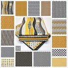 2017 - YELLOW MUSTARD & GREY 100% COTTON FABRIC - Hip Hop chevron triangle ..