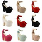 Womens Ladies Retro High Block Heel Platform Ankle Strap Sandals Shoes Size 3-8