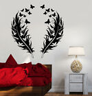 Vinyl Embankment Decal Feathers Butterfly Fictitious Bedroom Design Stickers (866ig)