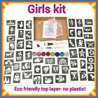 Girls PARTY GLITTER TATTOO KIT 158 stencils 8 glitters Refill glitter body art