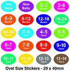 Coloured Baby & Childrens Clothes Size Stickers - Sticky Labels - For Hangers