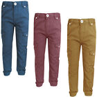 Boys Adjustable Waist Cuffed Straight Leg Chinos Jeans Bottoms Kids Size