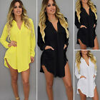Plus Size Women Causal Loose Long Sleeve Cocktail Party Evening Short Mini Dress