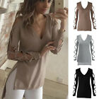 New Women's Hollow Out Long Sleeve Shirt Casual Blouse Loose Cotton Tops T-Shirt