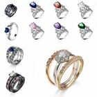 Platinum Plated Finger Rings Fashion Jewelry Zircon Wedding Gifts Sapphire