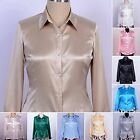 Womens Ladies 16 Momme 100% Pure Silk Long Sleeve Dress Shirt Blouse Tops