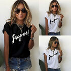 Womens Summer Letter Printed T Shirt Short Sleeve Casual Loose Blouse Tee Tops