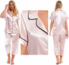 Ladies Satin Silky Pyjamas SHORT SLEEVE Summer Pink 3/4 Cropped Collar Buttoned