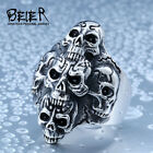 New Man's Stainless Steel Ring Crowded Skull Titanium Steel Rings A421