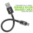 4 Inch Super SHORT Premium Nylon Braided Micro USB Charging Cable Charger Cord