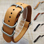 Mens Genuine Leather Army Military Watch Strap Band 18/20/22mm Black Brown tb