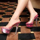Womens Flowers Transparent Open Toe High Heel Party Club Sandals Slipper Shoes