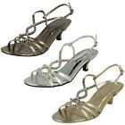 Ladies Spot On Diamante Slingback Evening Sandals F1579 Style ~ K