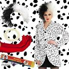 Ladies Kids Cruella Dalmatians Book Day Villain Fancy Dress Accessory Outfit Lot