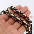 """Black Gold Stainless Steel 5/6/8mm Byzantine Necklace Chain 7-40"""" Men's Jewelry"""