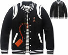 New Fashion Mens Double Leather Baseball Jumper Jacket Blazer Outwear Top W011